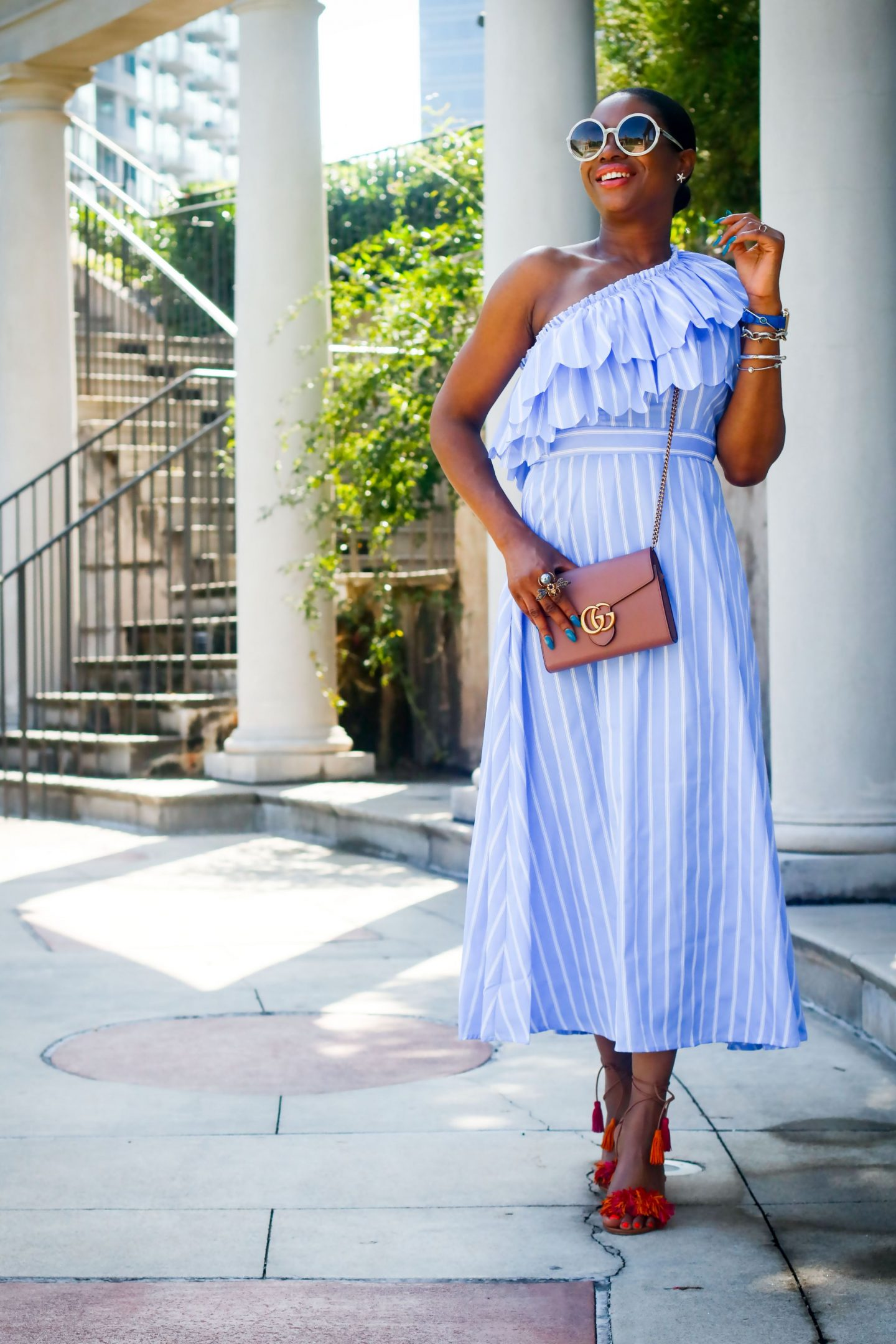 BLUE AND WHITE STRIPE ONE-SHOULDER MIDI DRESS