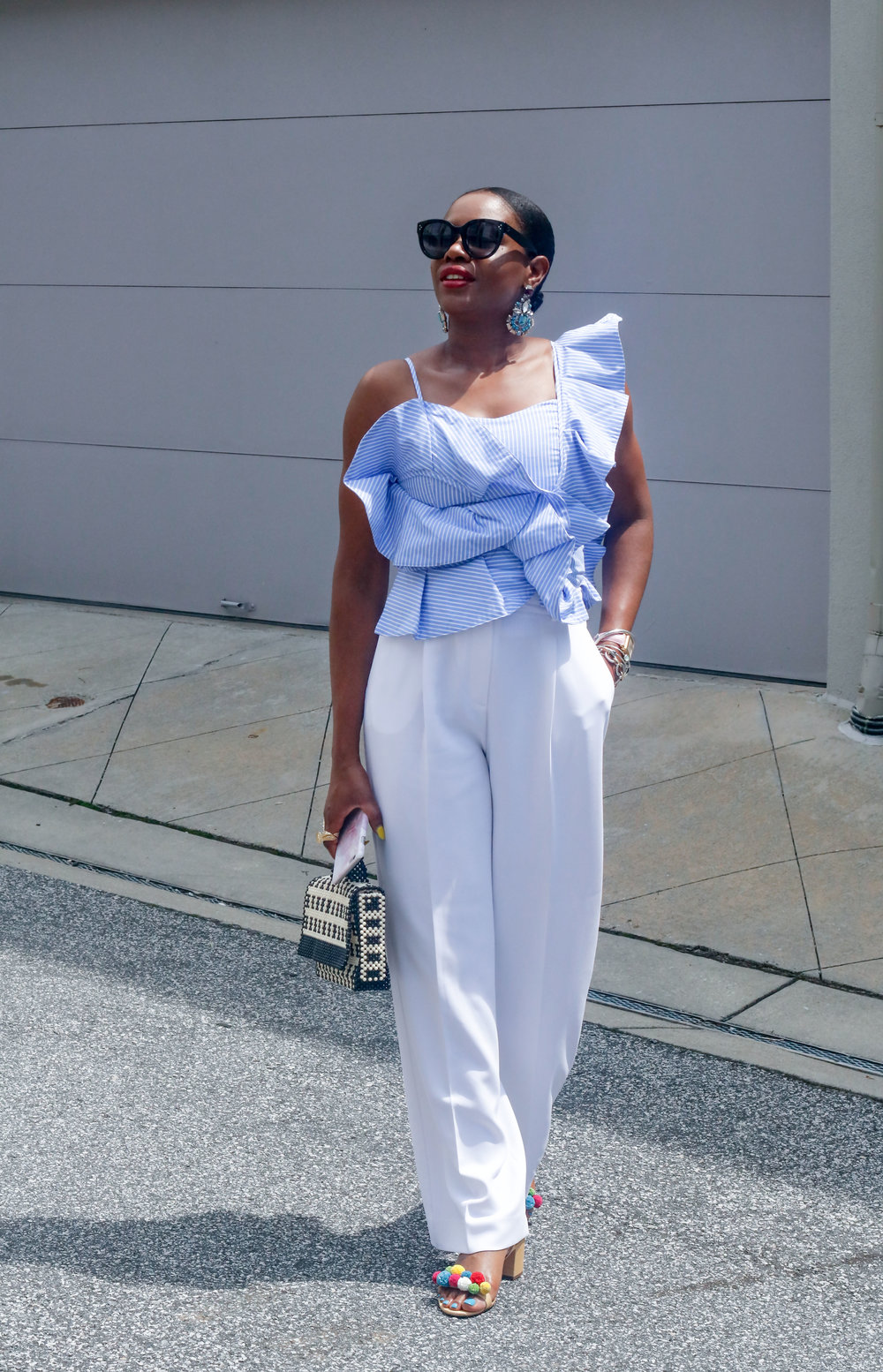 WRAPPED IN BLUE AND WHITE RUFFLES
