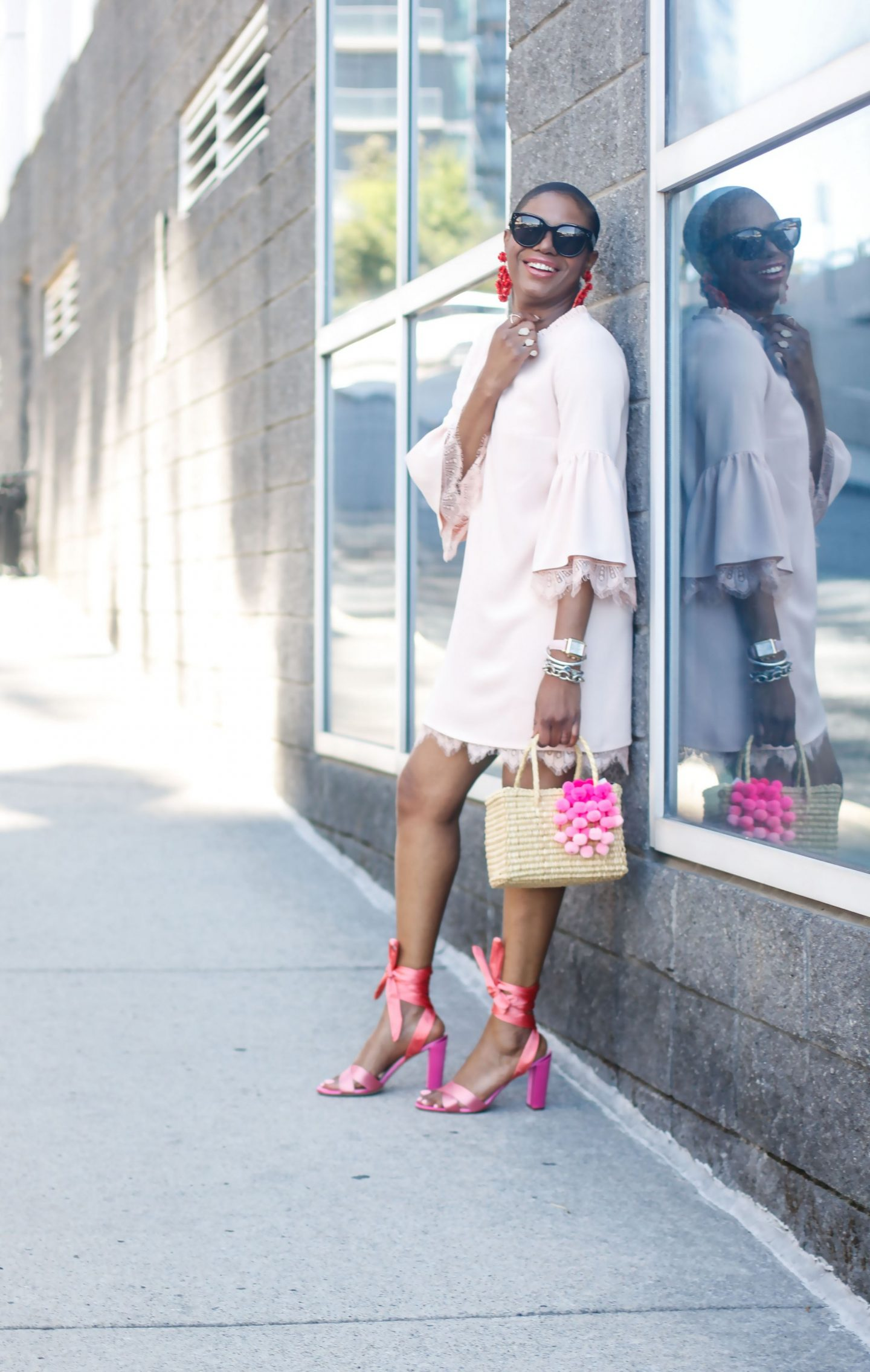 PINK BELL-SLEEVE DRESS FOR SUMMER AND FALL