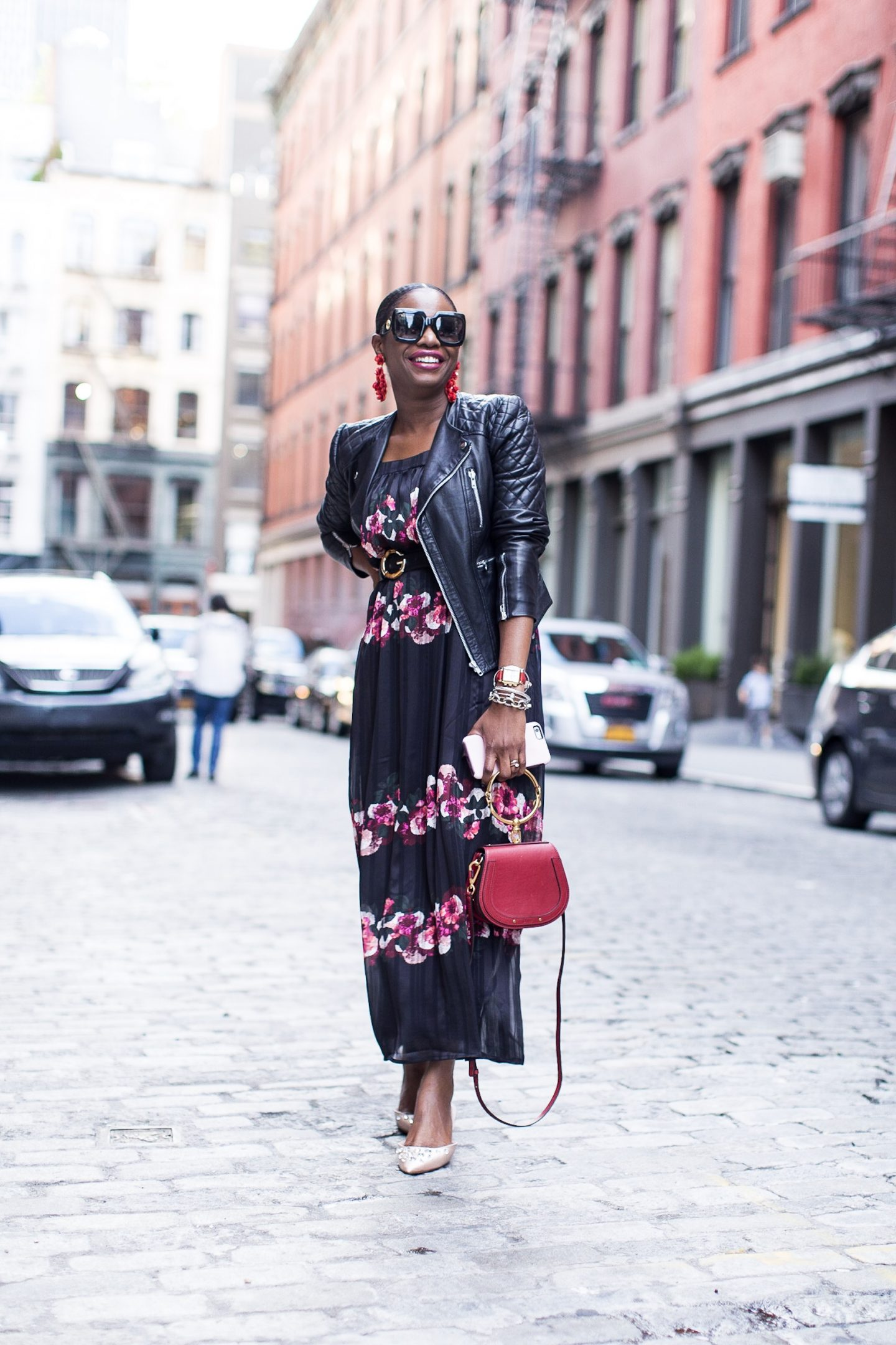 fall floral maxi dress and biker jacket