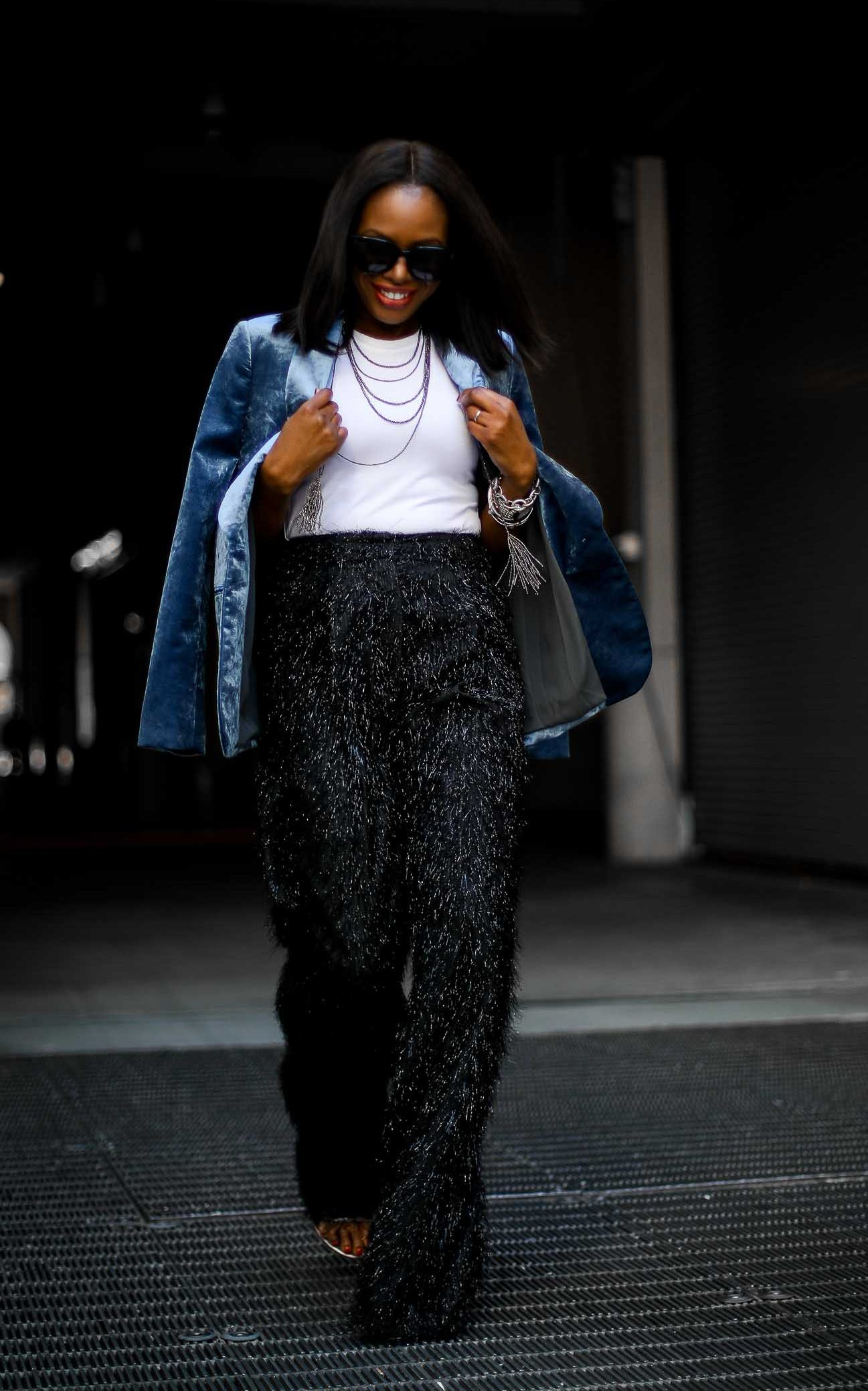 How to style holiday pants. Featured wide leg pants by Brunello Cucinelle