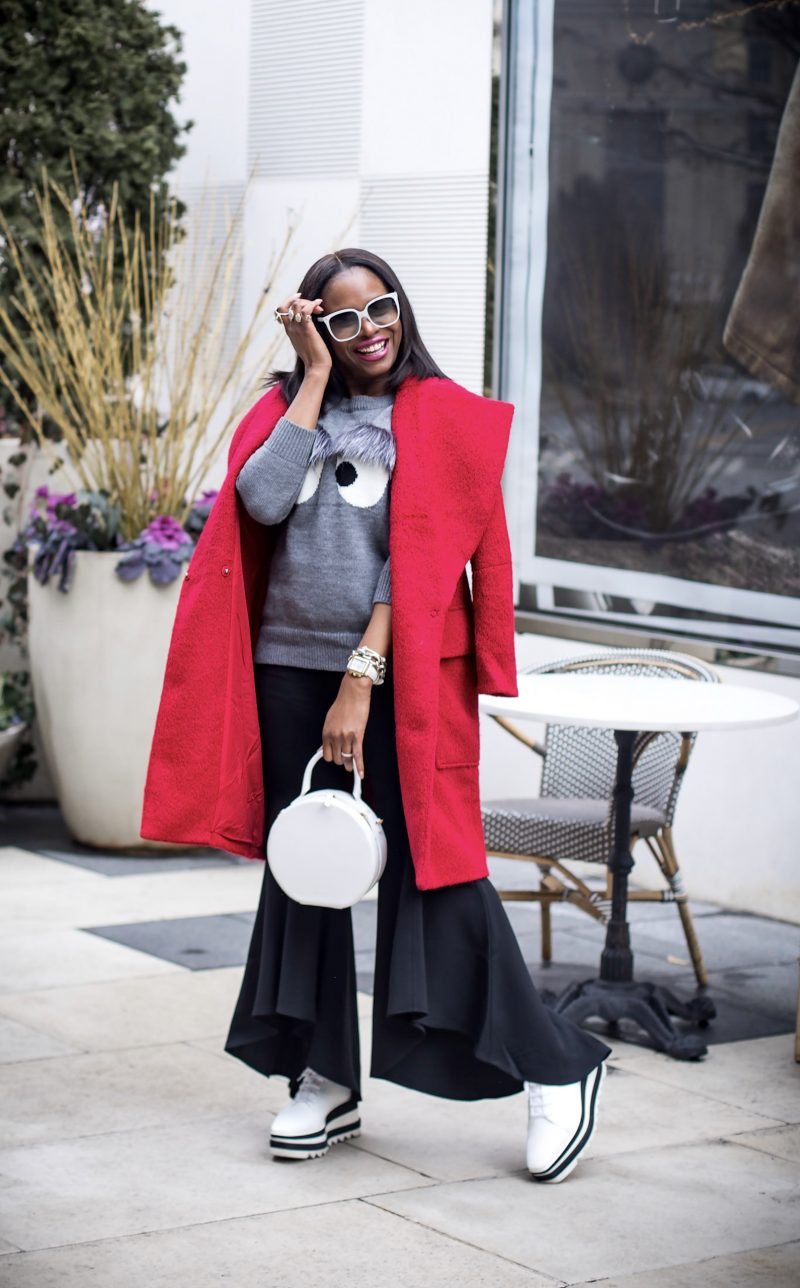 A FLARE FOR FASHION // FLARE PANTS, FUR SWEATER & RED COAT