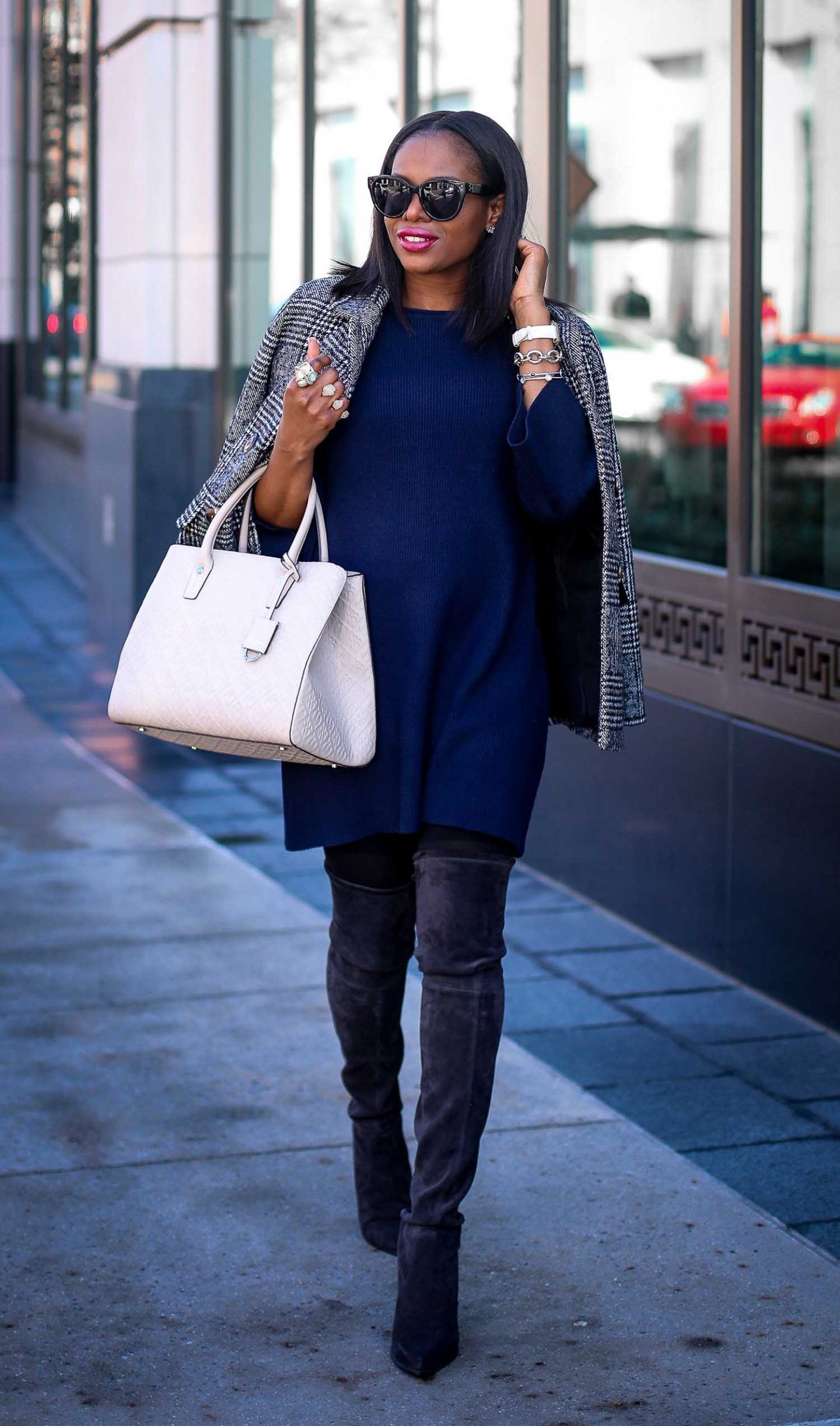 navy knit dress