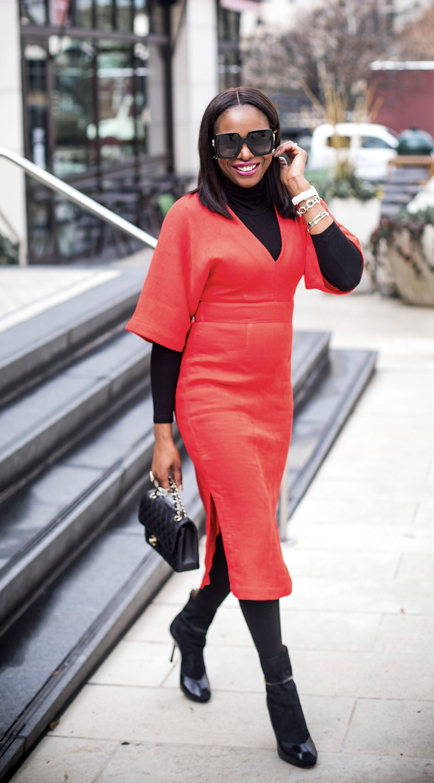 HOW TO STYLE A RED MIDI DRESS IN THE WINTER