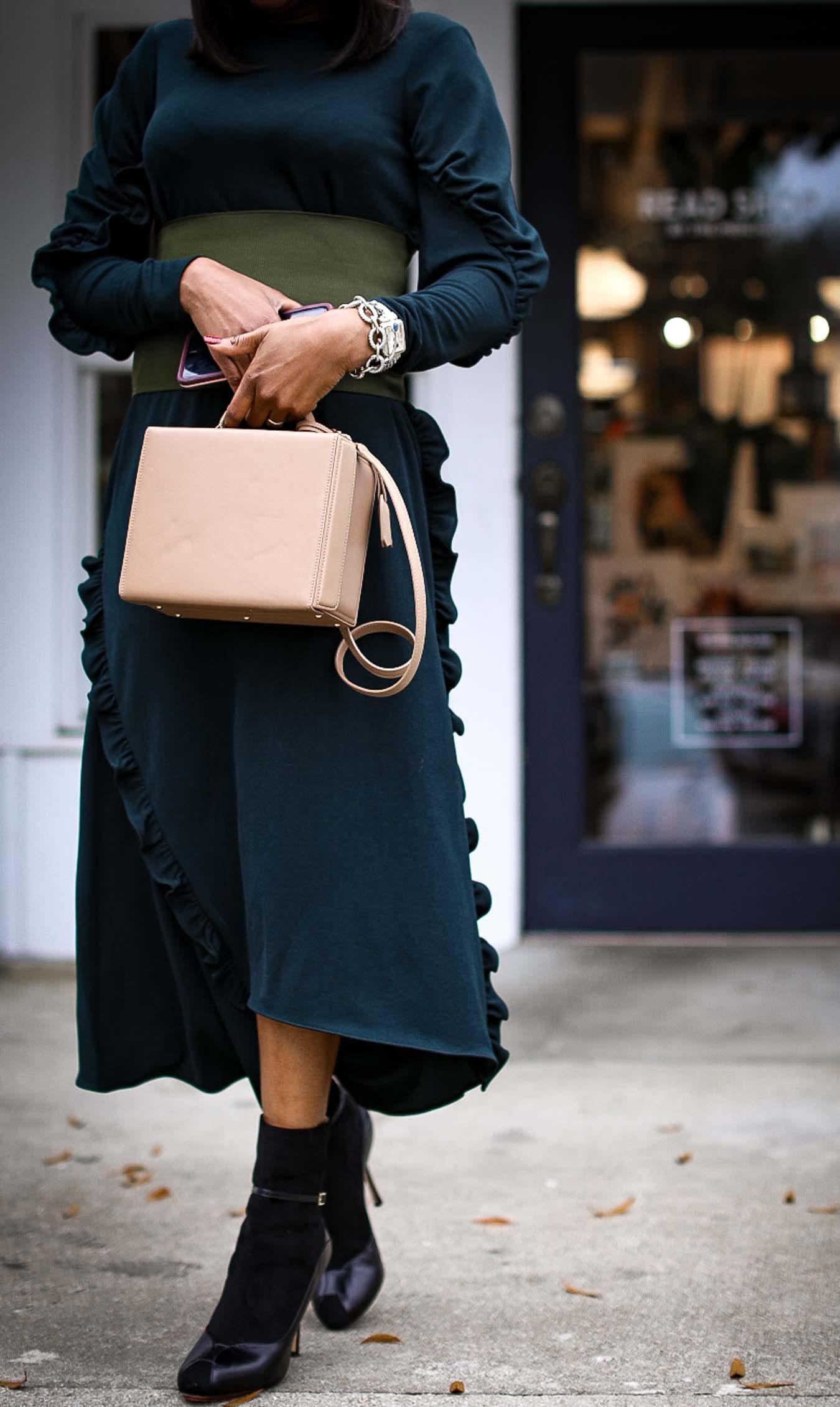 green tibi midi dress
