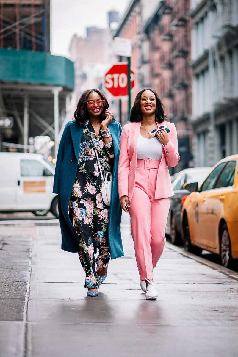 floral and pink suits