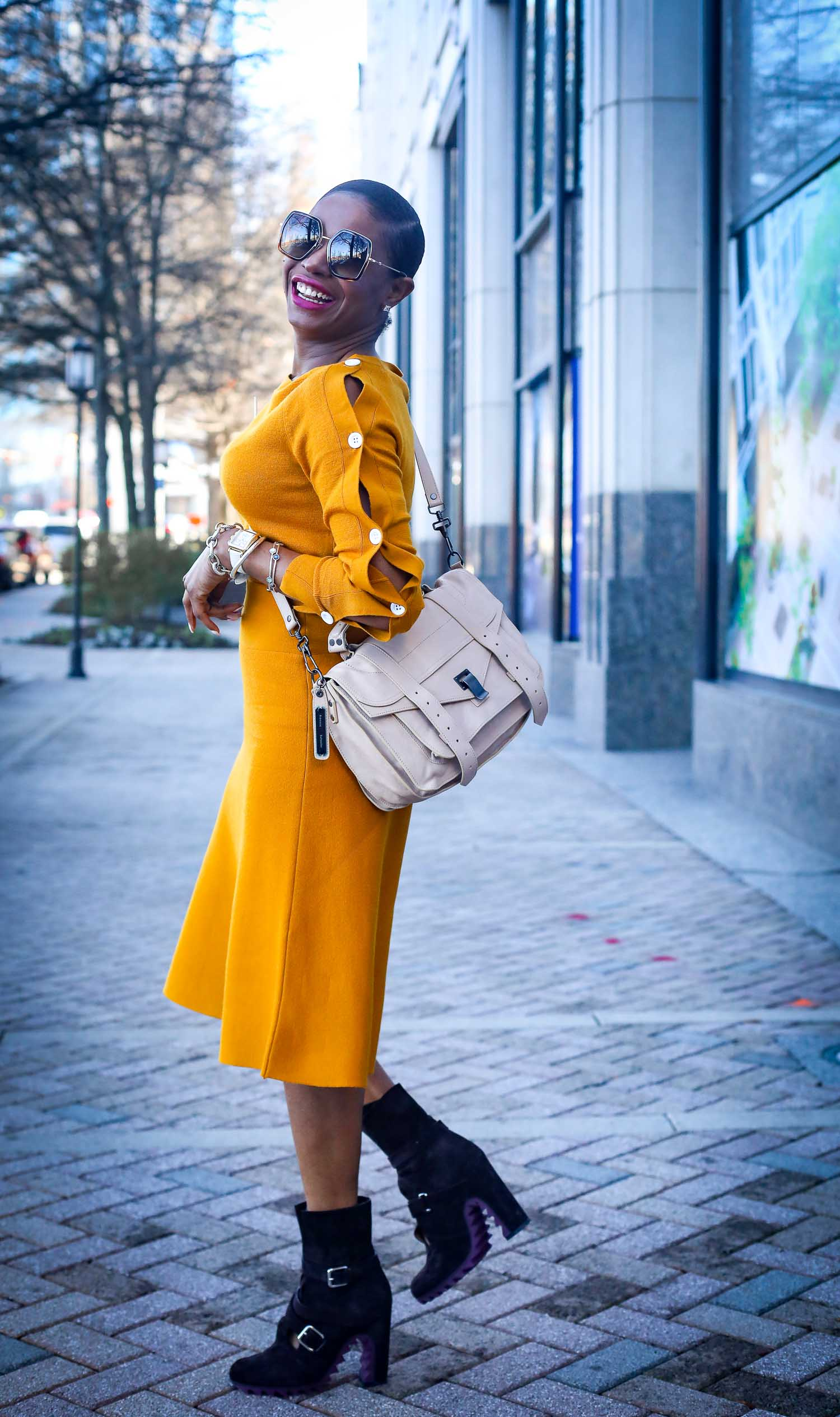 mustard yellow knits