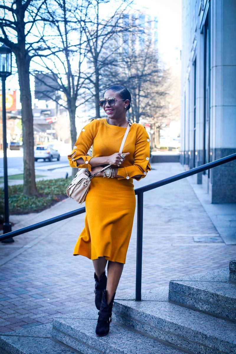 Ann Taylor mustard yellow knit set