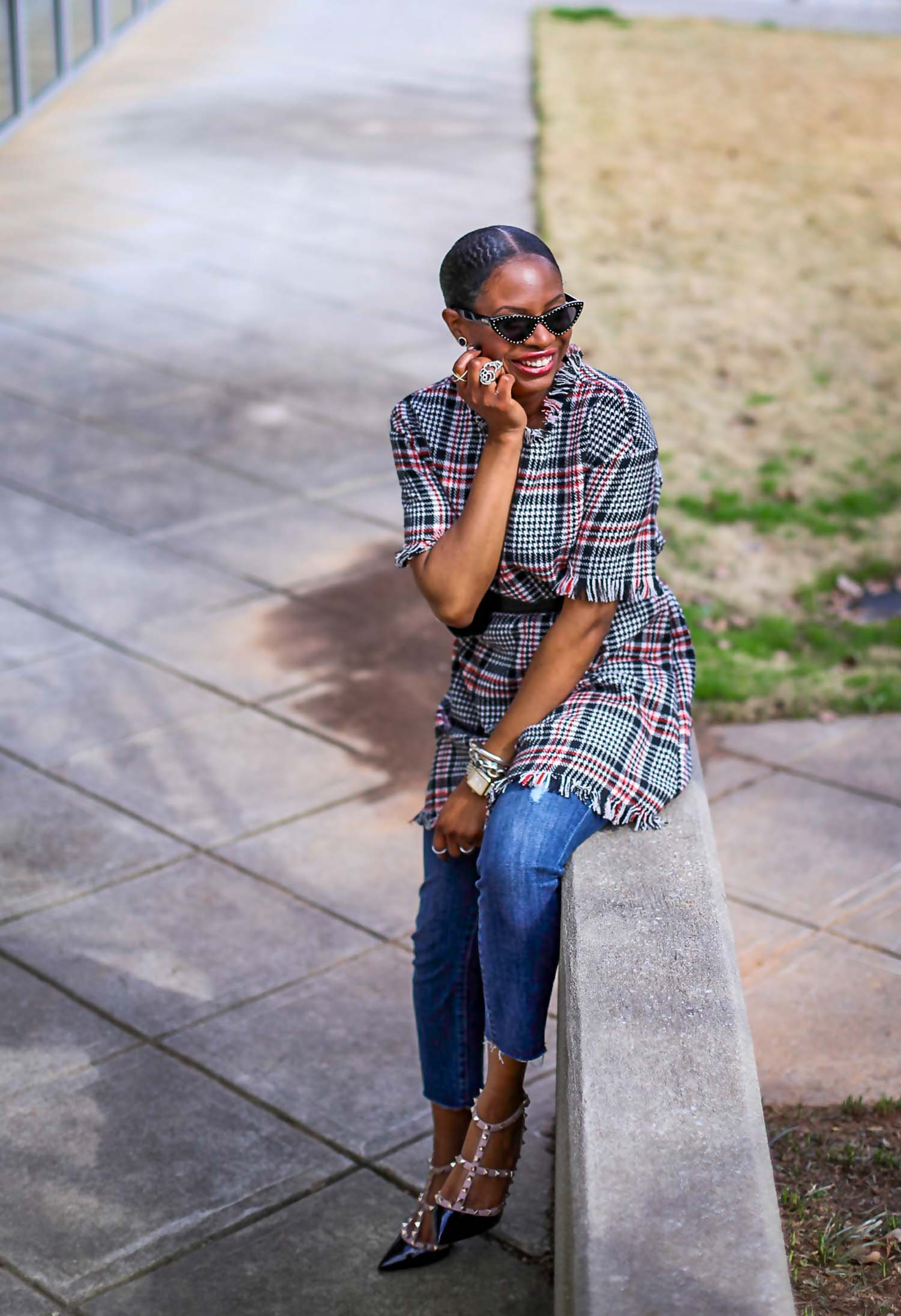 tweed dress worn over jeans