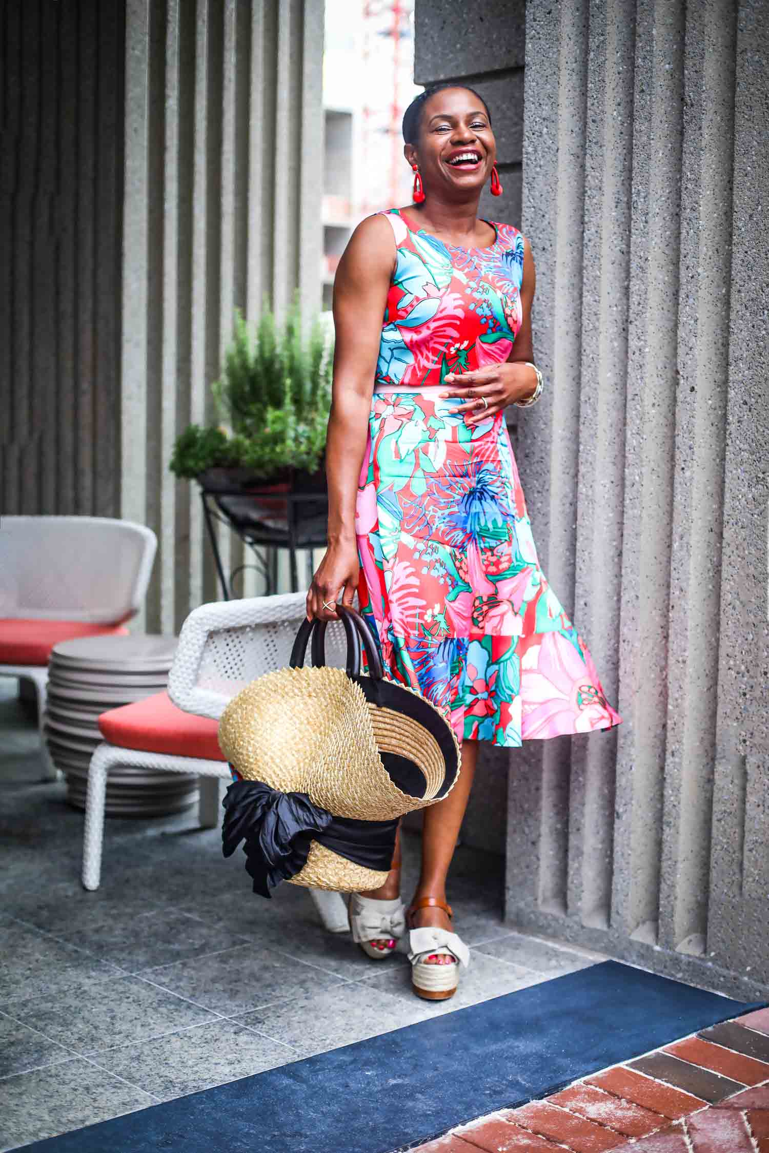 Tropical floral print dress