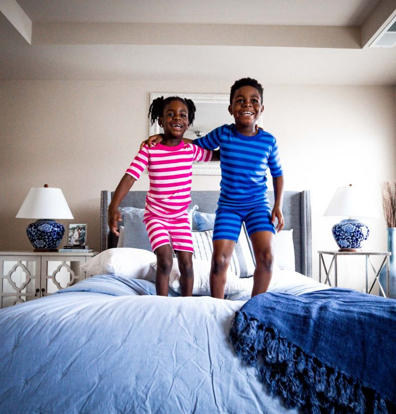 Lifestyle blogger Monica Awe-Etuk of Awed by Monica and her kids wearing organic pajamas from Hanna Andersson