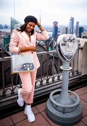 pink corduroy suit