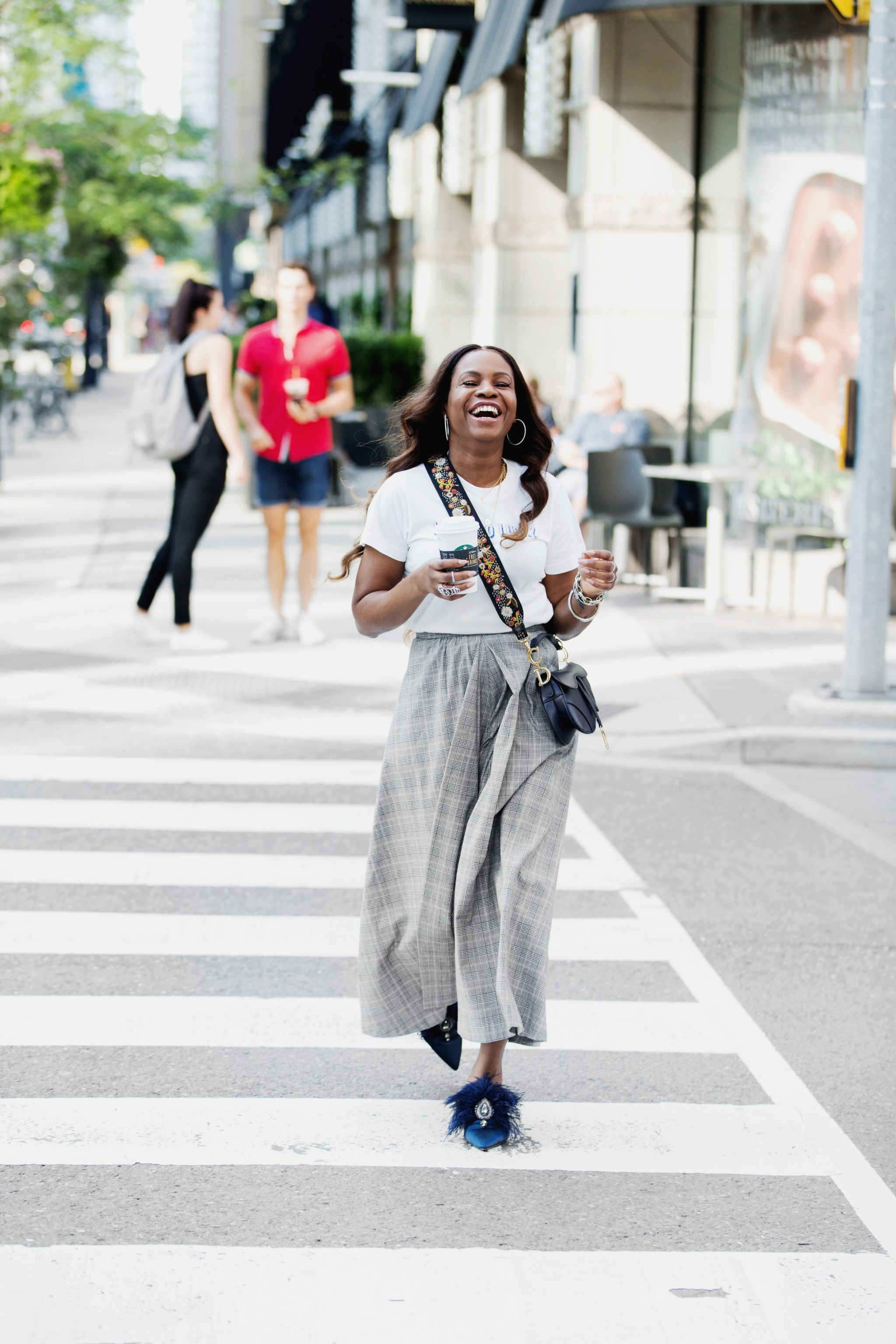 Atlanta fashion blogger wearing plaid culottes, Tory Burch feather mules and the new Dior saddle bag