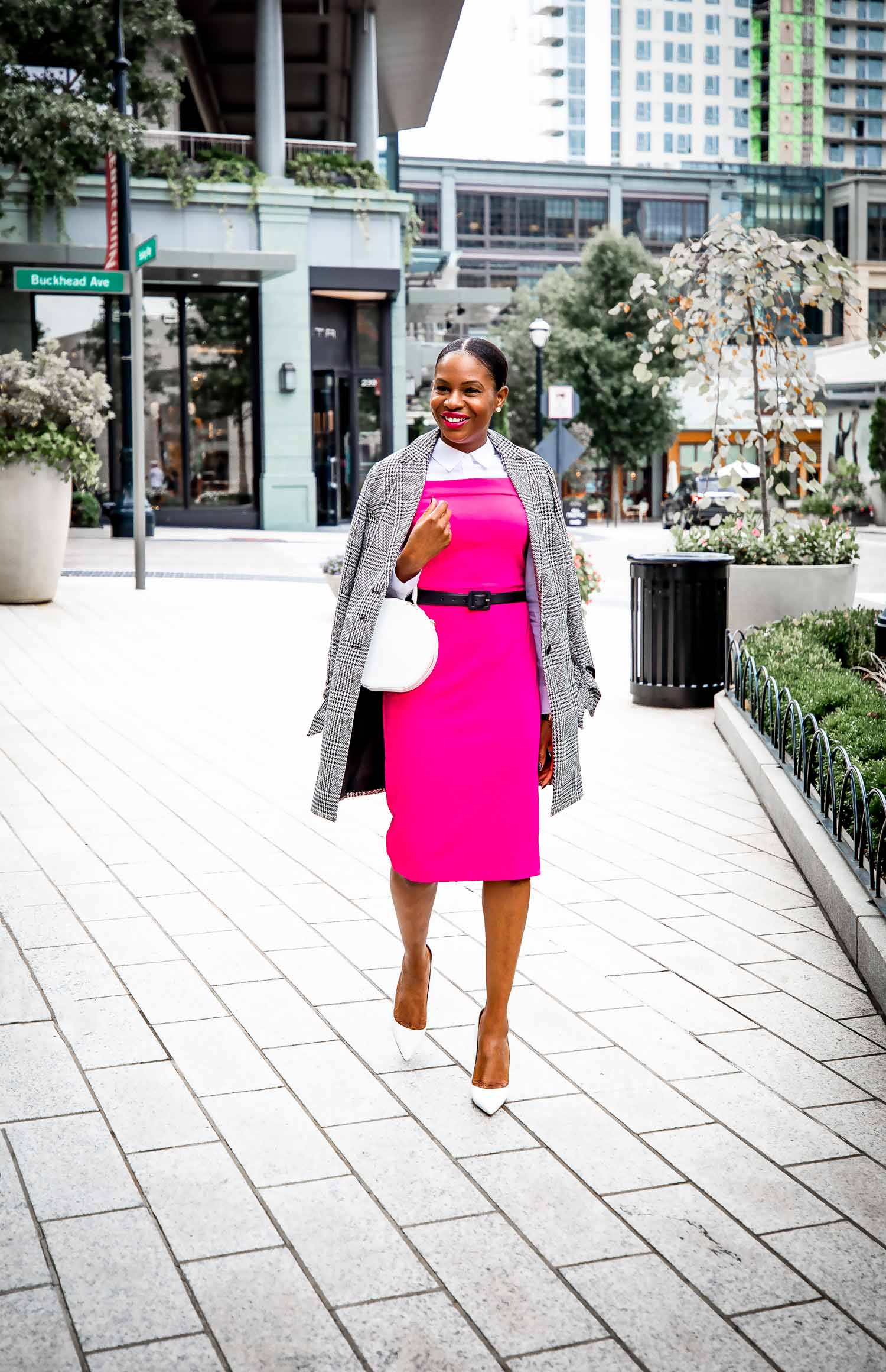 Fashion blogger Monica Awe-Etuk wearing pink in support of Pink October, Breast Cancer Awareness Month.