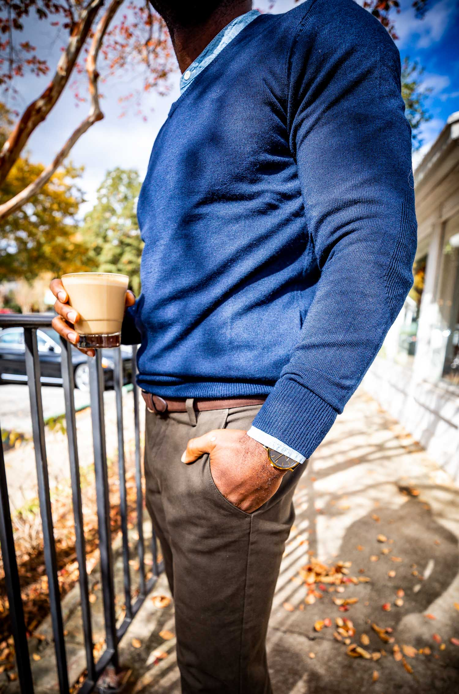 Atlanta lifestyle blogger Monica Awe-Etuk and husband in the new Dockers smart pants, navy merino wool v-neck sweater and butterscotch loafers