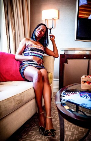Atlanta fashion blogger Monica Awe-Etuk wearing a likely rainbow sequins mini dress from shopbop, Jimmy Choo black and gold sandals at the beverlyhills hotel in Los Angles for New Years Eve-2