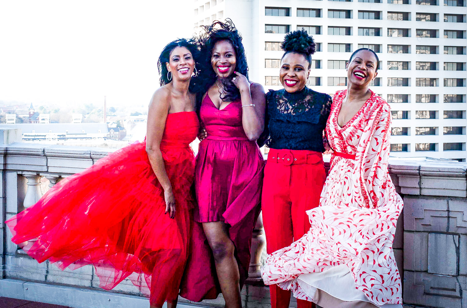 Atlanta lifestyle blogger Monica Awe-Etuk and top atlanta bloggers Titi's passion, eating with erica and Tomeka from Cherrypickedstyle create looks for galentines day