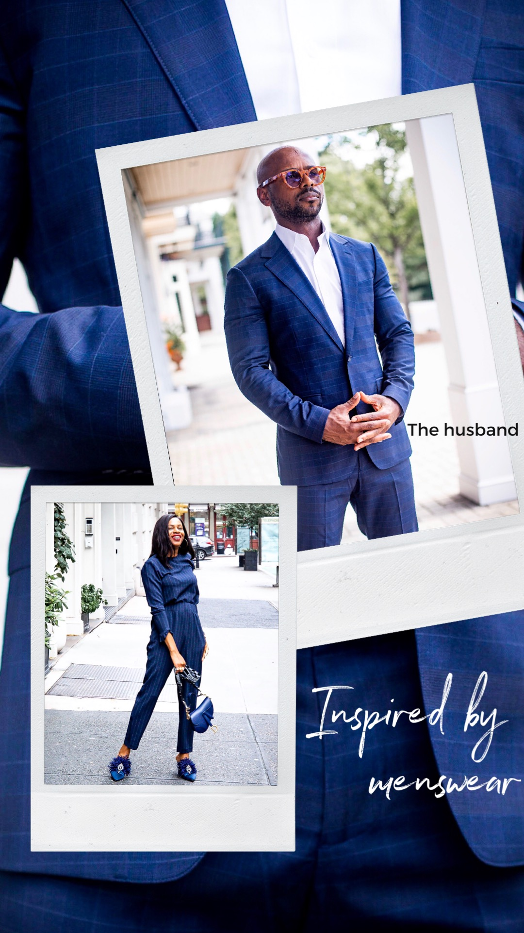 Atlanta blogger Monica Awe-Etuk wearing blue pinstripe suit with husband wearing Bonobos suit, tells you everything you need to know about the suit trend and how to style suits