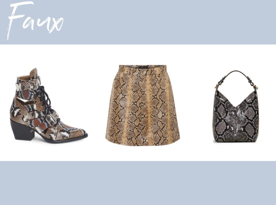 Atlanta fashion blogger Monica explains why real snakeskin is so expensive and why some faux snakeskin is also extremely expensive. chloe Rylee Python-Print Lace-Up Boots, sprwmn snake-effect leather mini skirt, anya hindmarch mini build a bag