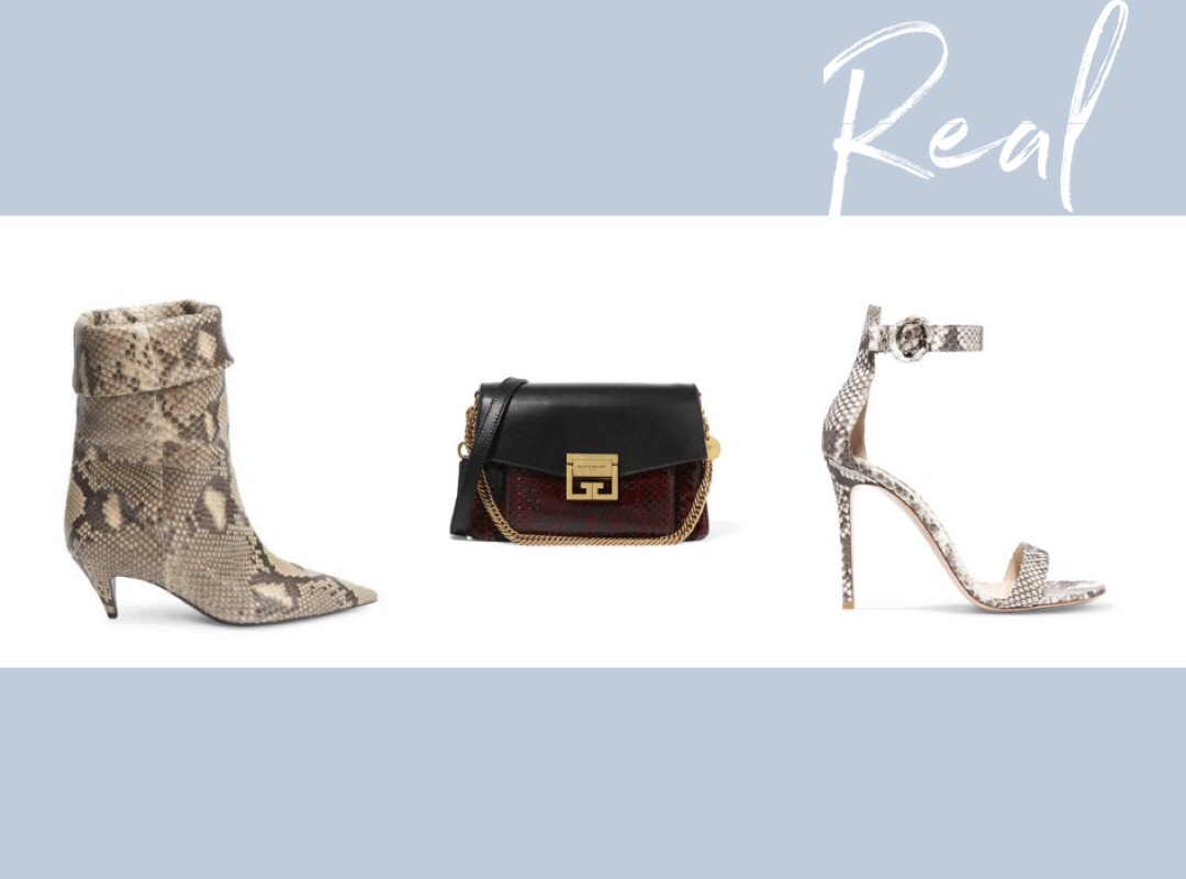 Atlanta fashion blogger Monica explains why real snakeskin is so expensive and why some faux snakeskin is also extremely expensive. ysl snakeskin boots, givenchy leather and python chain bag, gianvito rossi Portofino 85 python sandals