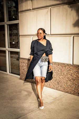 Atlanta fashion blogger Monica Awe-Etuk wearing a navy shirt dress over denim bermuda shorts, cult gaia mules, gucci square sunglasses and dior oblique belt bag-11