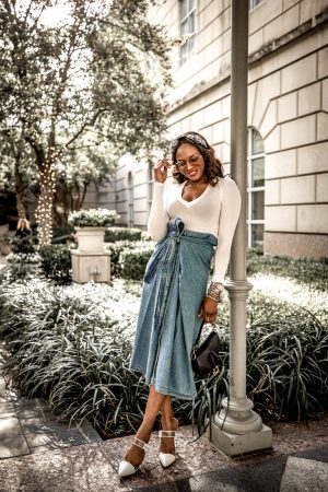 Atlanta fashion blogger Monica Awe-Etuk wearing levis midi skirt with white long sleeve v-neck top, embelished head band, gucci square sunglasses, dior saddle bag and white clear mules-7