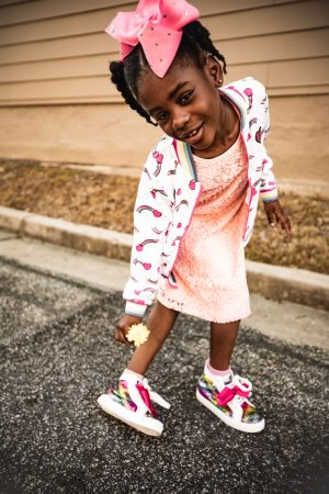 atlanta mommy blogger's daughter wearing jojo siwa sneakers and spring trends
