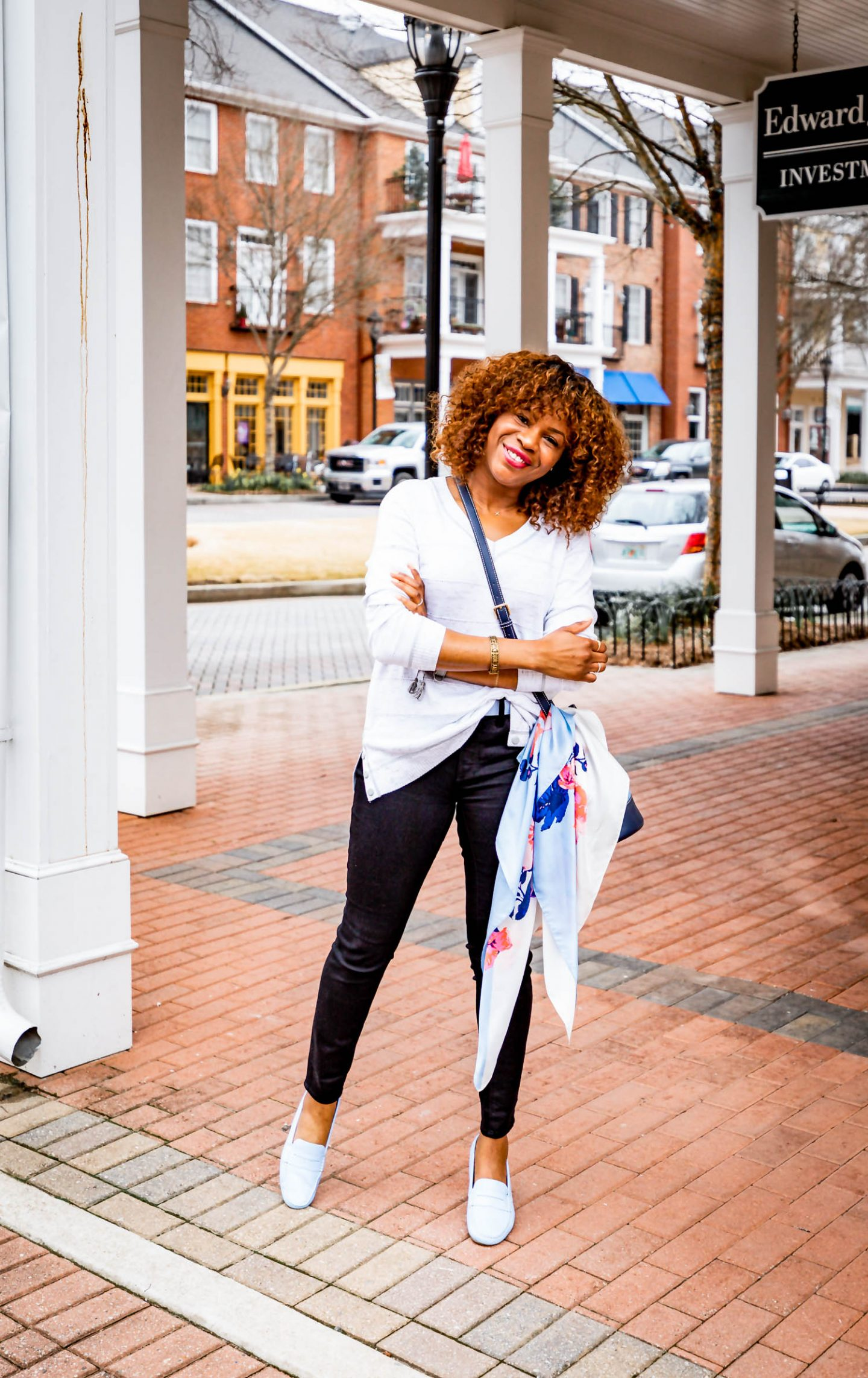 Atlanta lifestyle blogger Monica Awe-Etuk creates 2 stylish mom outfits for soccer moms on the go. Wearing talbots X Oprah collection to drop off her kids for soccer and gymnastics. grey v-neck sweater, black high waist skinning jeans, light blue loafers, blue bucket bag and light blue scarf