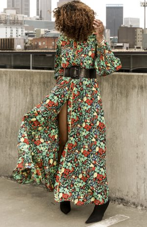 Atlanta-lifestyle-blogger-Monica-Awe-Etuk-wearing-a-Alexis-Hiroka-Botanical-Robe-Maxi-Dress-balenciaga-booties-and-club-monaco-thick-black-belt