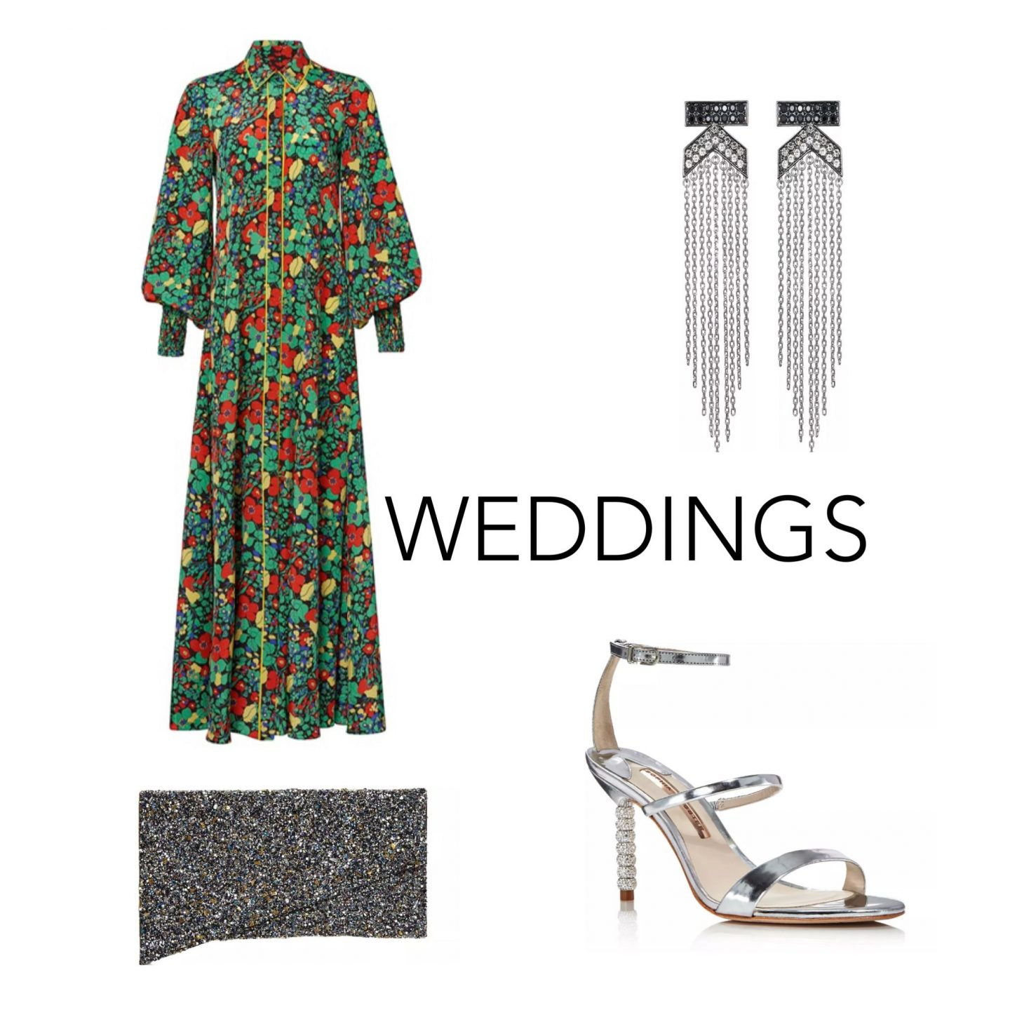 atlanta fashion and style blogger monica awe shows you how to style a floral maxi dress for wedding, floral button down maxi dress, silver statement earrings, silver sandals, metallic clutch