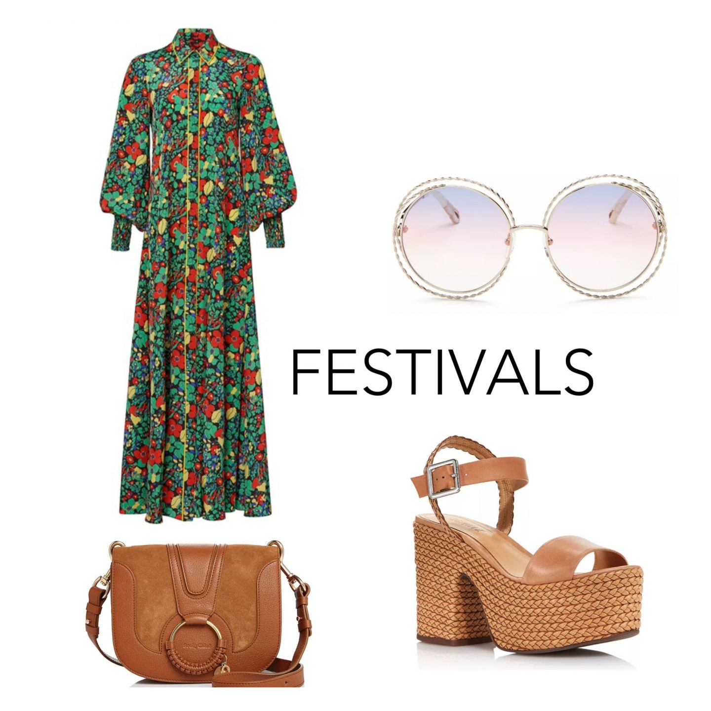 how to style a floral maxi dress for a festival, chloe cross body bag, shuzt brown platform sandals, chloe round sunglasses