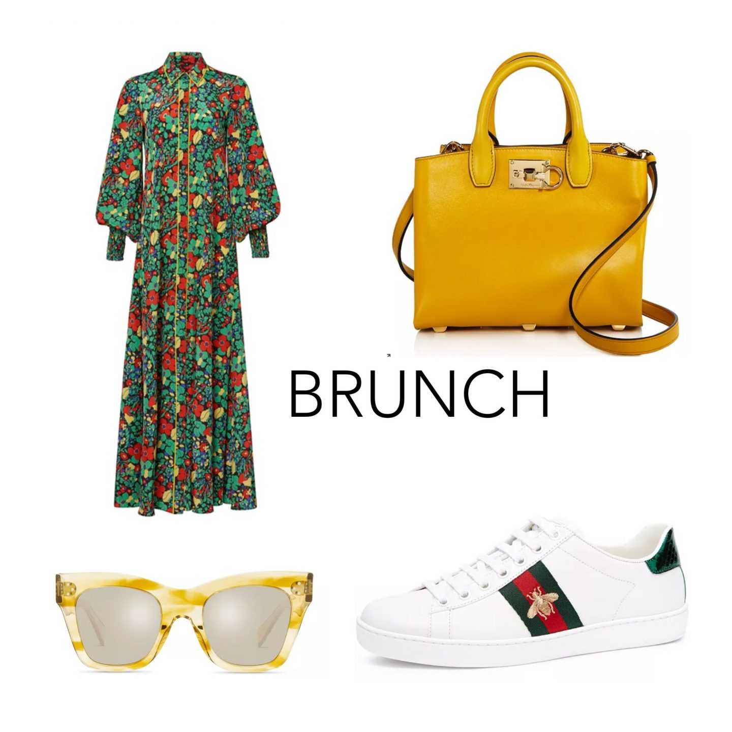 atlanta fashion blogger monica awe-etuk shows you how to style a floral maxi dress for brunch, Salvatore Ferragamo yellow bag, gucci sneakers, yellow sungalsses