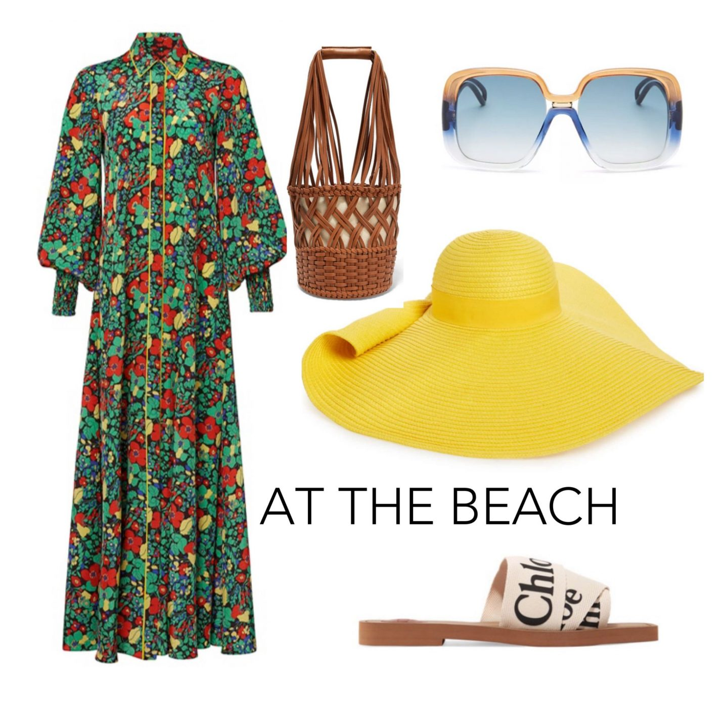 how to style a maxi dress for the beach. chloe sandals, yellow straw hat, blue and yellow oversized sunglasses, brown woven bag, floral maxi dress