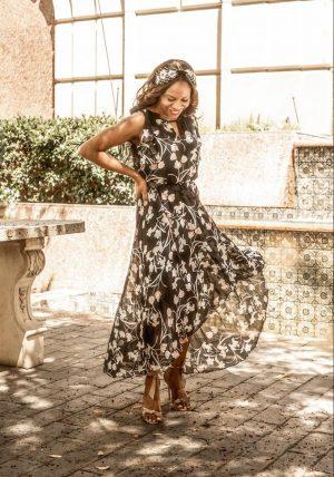 Atlanta fashion bloggers Monica Awe-Etuk white houe black market black floral dress and teal blazer for spring-5