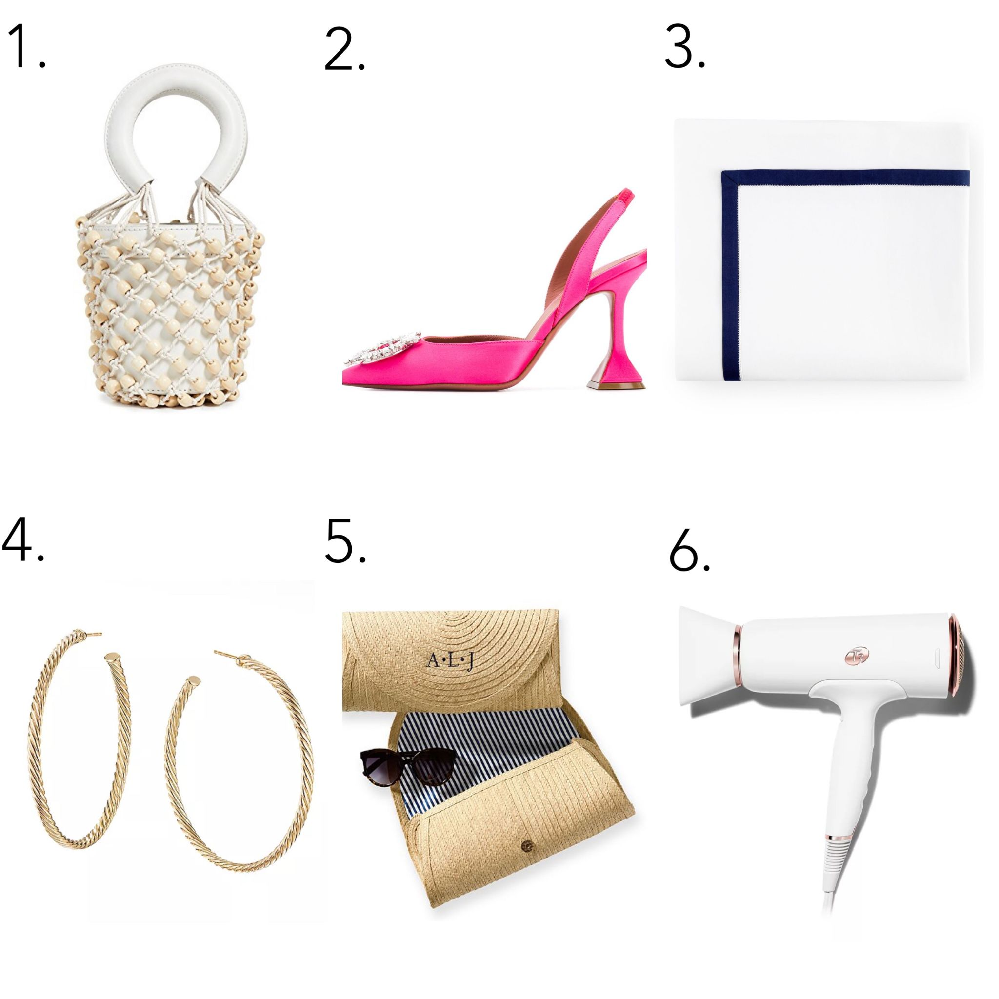 atlanta blogger monica awe shares her mother's day wish list. staud white bag, monogram straw cultch, david yurman gold large hoops, AMANDO FLAT SHEET, mark and spencer monogram straw clutch, t3 blow dryer, Amina Muaddi pink pumps,