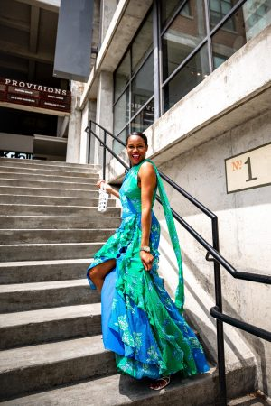Atlanta fashion and lifestyle blogger Monica wearing a floral gown for her 40th birthday_ Tanya Taylor floral dress, Rejina Pyo sandals, cult gaia bag