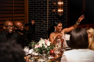 Atlanta fashion and lifestyle blogger Monica wearing a floral gown for her 40th birthday, 40 birthday party ideas