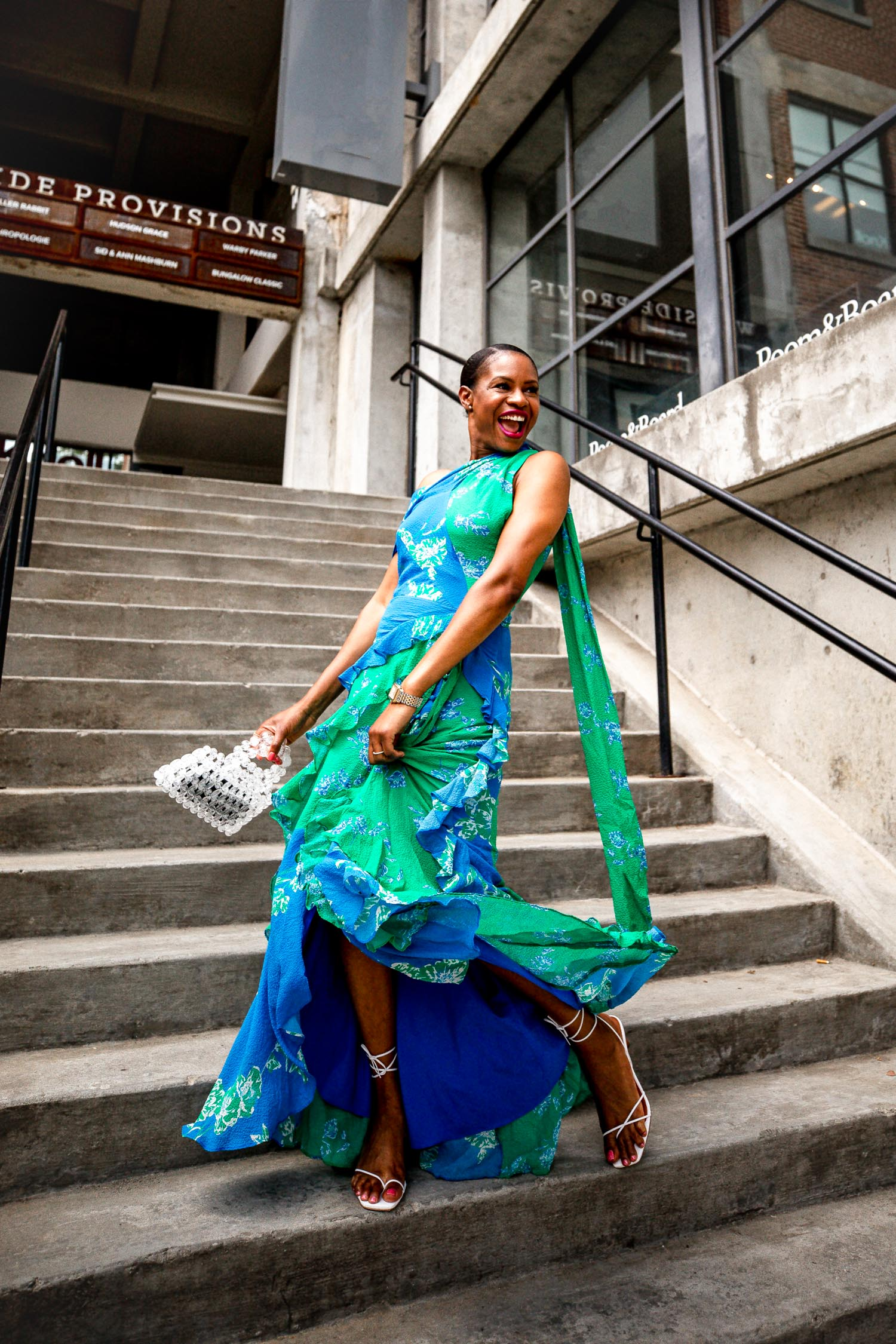 Atlanta fashion and lifestyle blogger Monica wearing a floral gown for her 40th birthday_ Tanya Taylor floral dress, Rejina Pyo sandals, cult gaia bag, sharing tools for living your best life, 3 tools to living best life