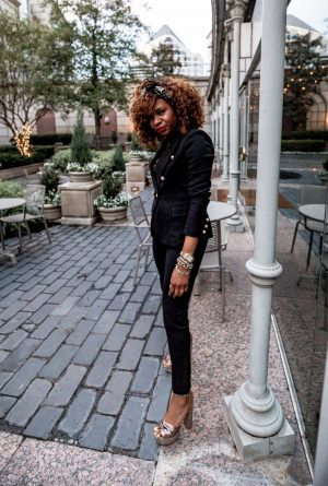 Atlanta fashion and lifestyle blogger Monica wearing all black suit for summer, ladyee boutique, black embellished head band, christian dior saddle bag, racheal zoe platform, michele watch, double breasted blazer