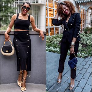 atlanta fashion blogger monica awe-etuk wearing all black for the summer, express black crop top, black midi skirt with gold buttons, bamboo handle straw bag, cult gaia buckle shoes, black suit racheal zoe platform sandals, black embellished head band