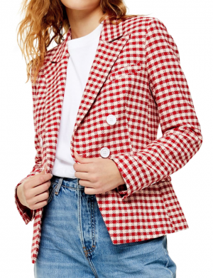 top shop red and white plaid blazer from the nordstrom anniversary sale #nsale , nordstrom anniversary sale