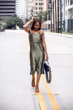 Atlanta fashion and lifestyle blogger monica awe-etuk wearing asos green fitted midi dress, orange sandals, and dior saddle bag, floral strap, dior, christian dior, style blogger, rejina pyo, influencer