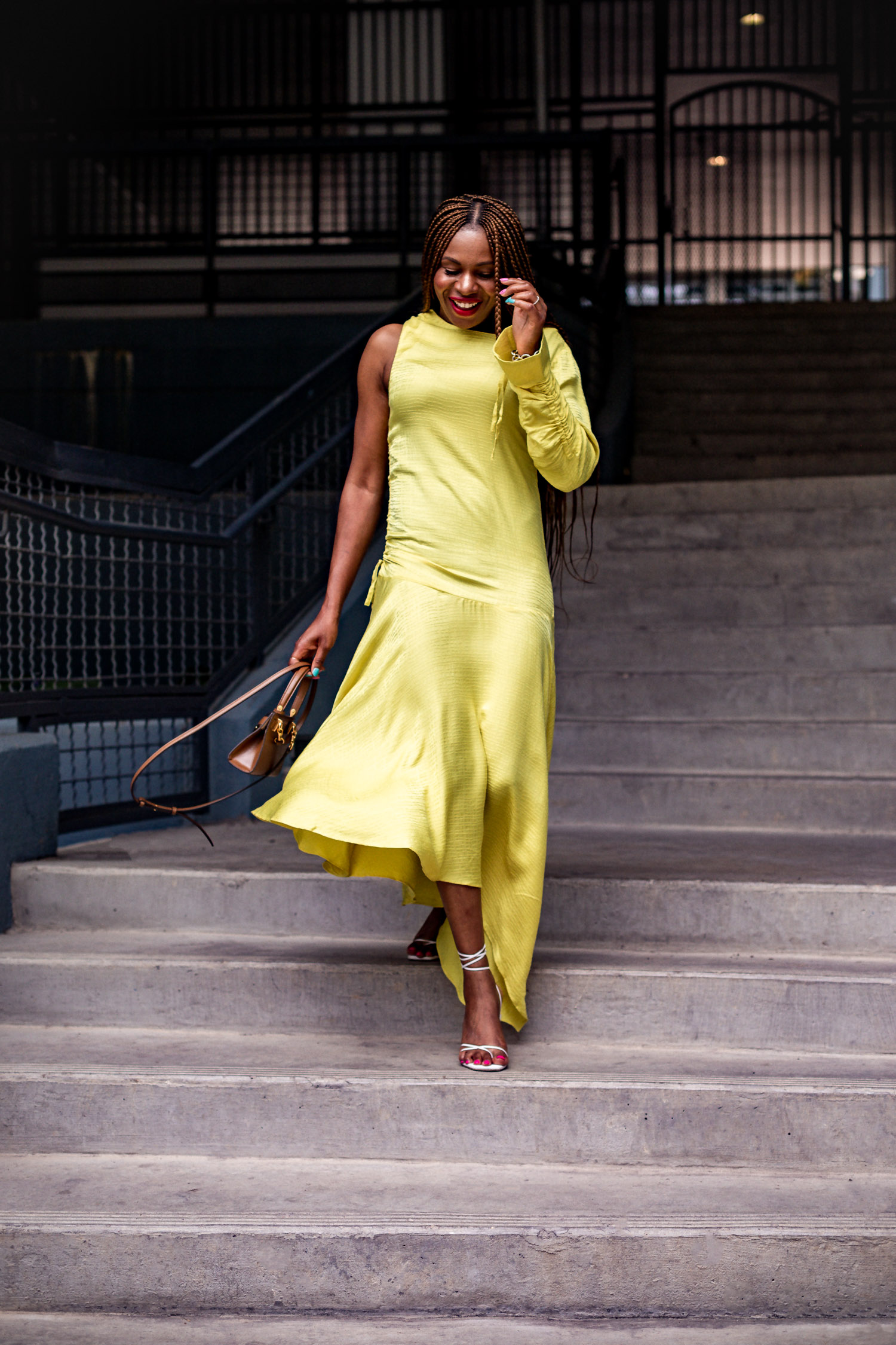 Atlanta fashion and lifestyle blogger monica awe-etuk wearing asos yellow one sleeve highlow midi dress with white sandals and tory burch bag, yellow evening dress, yellow dress, fall colors, yellow high-low dress, yellow midi dress, one sleeve dress, asos, asos dresses, rejina pyo, white sandals