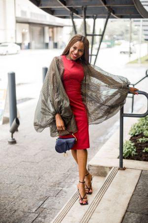 fashion and lifestyle blogger monica awe-etuk wearing FIA balloon sleeve dress, red dress and bottega sandals, dior saddle bag-3