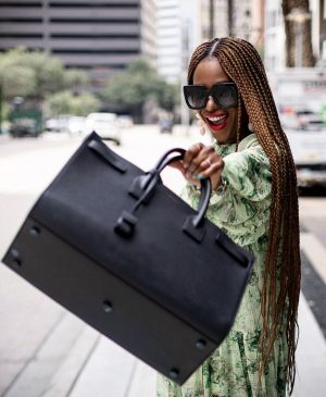 Atlanta fashion and lifestyle blogger monica unboxes saint laurent sac de jour large bag in pebble grain leather, unboxing bottega veneta square toe sandals in black, bottega veneta, ysl, saint laurent, unboxing