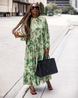 atlanta fashion and lifestyle blogger monica awe-etuk wearing asos fall floral maxi dress with gucci square sunglasses, bottega stretch sandals, large sac de jour black tote, cult gaia earrings, fall fashion, how to transition summer fashion this fall, summer to fall, street style, nyfw, fall fashion trends, floral print,