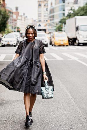 atlanta blogger wearing asos black sheer dress, prada shoes and brahmin bag, embellished headband, dior earrings, nyfw, best bags, it bag, fall trends, blue bag, faith bag, brahmin faith bag