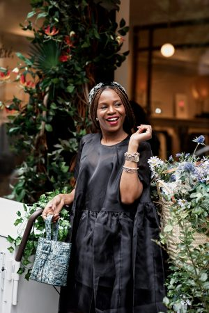atlanta blogger wearing asos black sheer dress, prada shoes and brahmin bag, embellished headband, dior earrings, nyfw, best bags, it bag, fall trends, blue bag, faith bag, brahmin faith bag