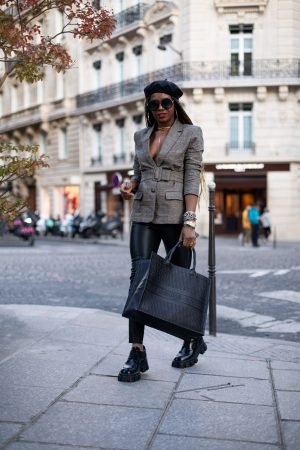 atlanta fashion blogger wearing plaid blazer, leather pants and dior book bag