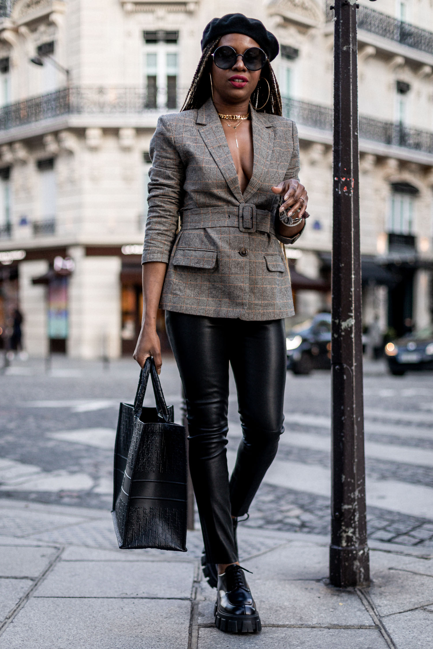 atlanta fashion blogger wearing plaid blazer, leather pants and dior book tote dior oblique bag in leather, BB dakota belted blazer, leather leggings, prada creepers, how to style prada creepers, round sunglasses, how to style round sunglasses, paris france, what to wear to paris fashion week, paris fashion week recap, black blogger in paris, top bloggers, fashion bloggers in paris, paris blogger, atlanta blogger, fashion trends